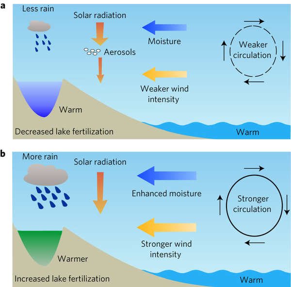 Schematic diagram illustrating the different ecosystem responses to recent anthropogenic and past warming in monsoon regions.