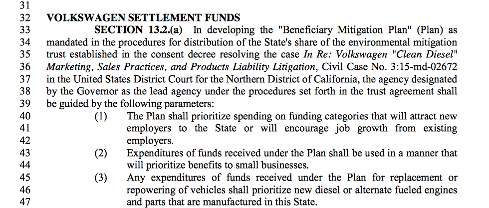 Screenshot of the language in the Senate budget