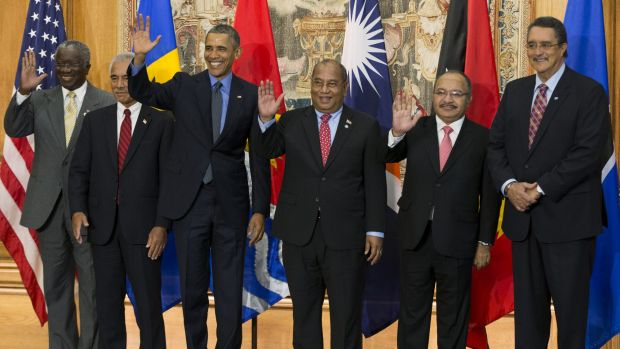 Barack Obama in Paris in 2015 with other leaders who signed onto the Paris climate accord.