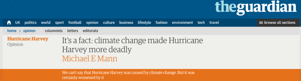 Hurricane Harvey opinion - Michael Mann in the Guardian