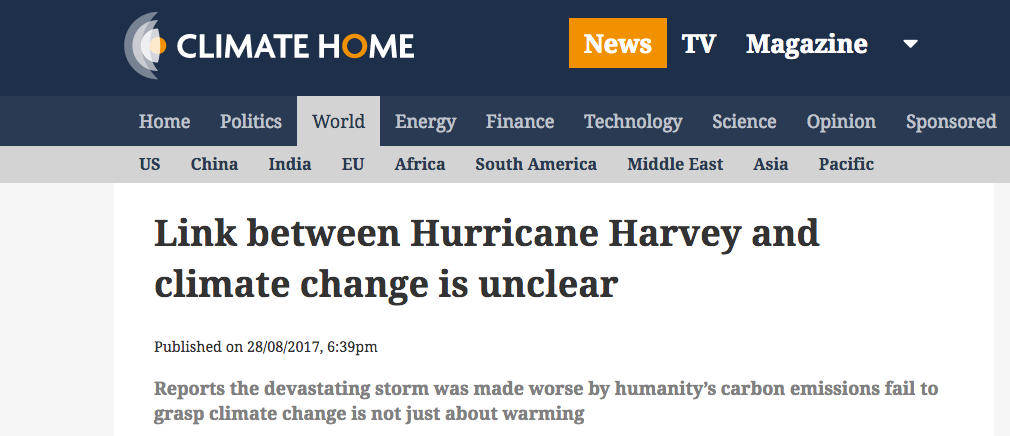Hurricane Harvey commentary - Climate Home