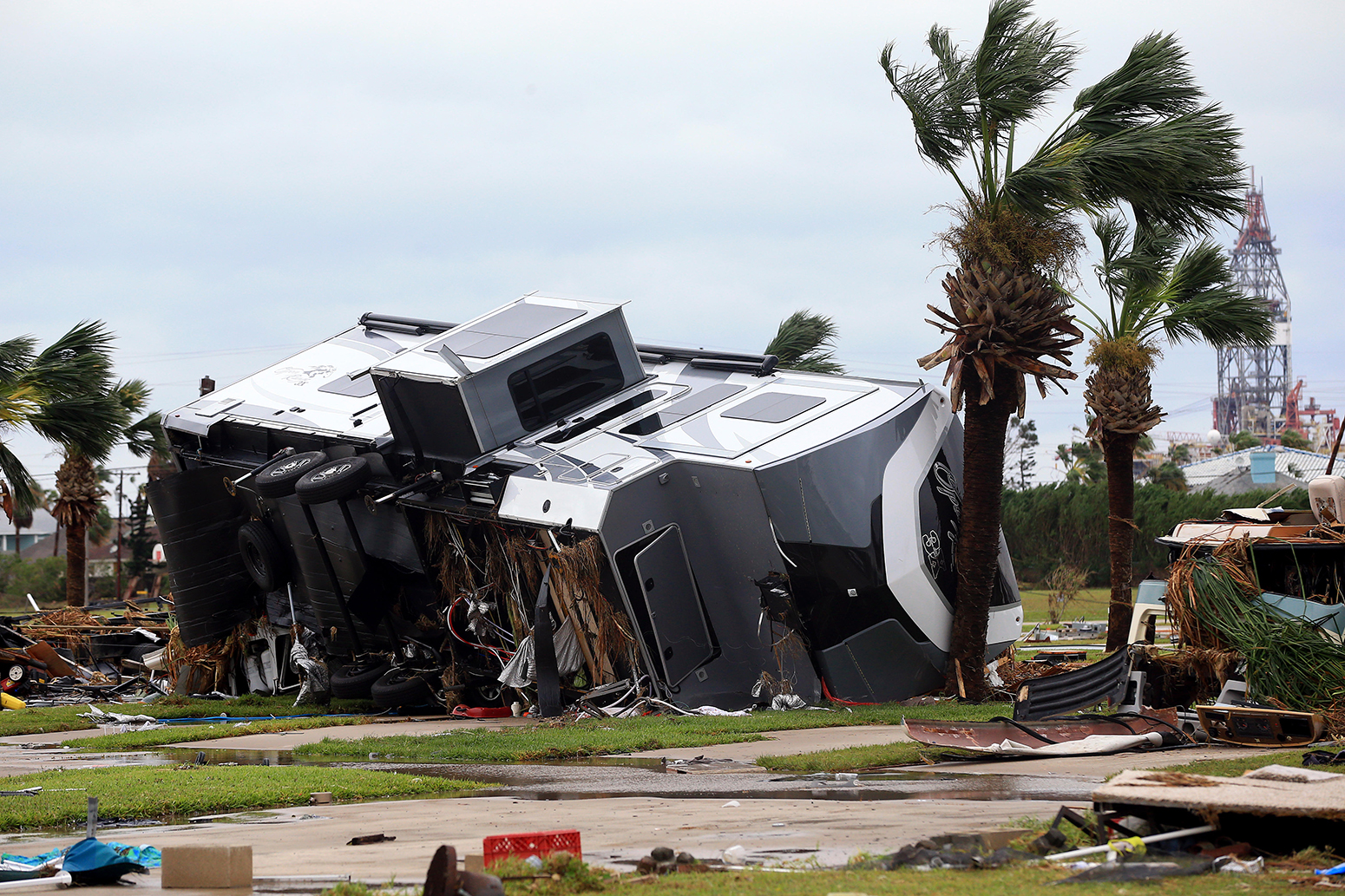 Mobile homes are destroyed at an RV park after Hurricane Harvey landed in the Coast Bend area on Saturday, Aug. 26, 2017, in Port Aransas, Texas.