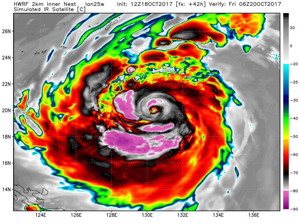 HWRF computer model projection of Typhoon Lan's satellite presentation on Friday, Oct. 20, 2017.