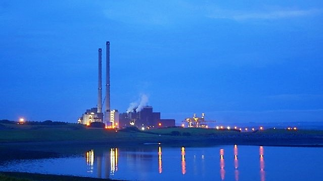 Moneypoint Power Station - nocturne in blue and gold