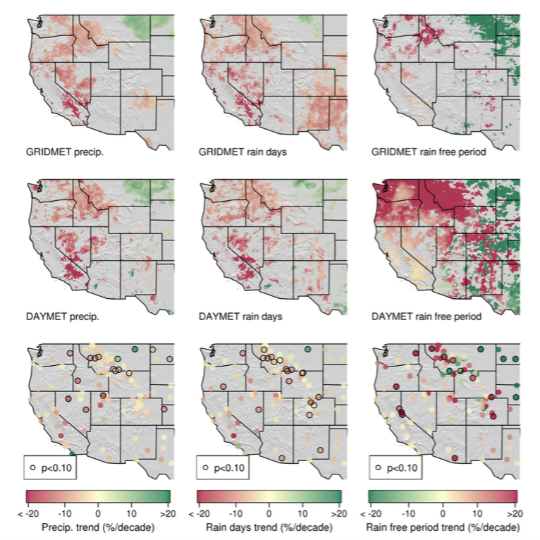 "9 grid maps showing Decadal changes to summer rainfall (left), number of ""wetting rain days"" (middle) and the average length of time without rain (right) for the GRIDMET (top) and DAYMET (middle) datasets, as well as individual weather stations (bottom; marked with dot). Red is used to show decreases on first two columns and increases on the third."