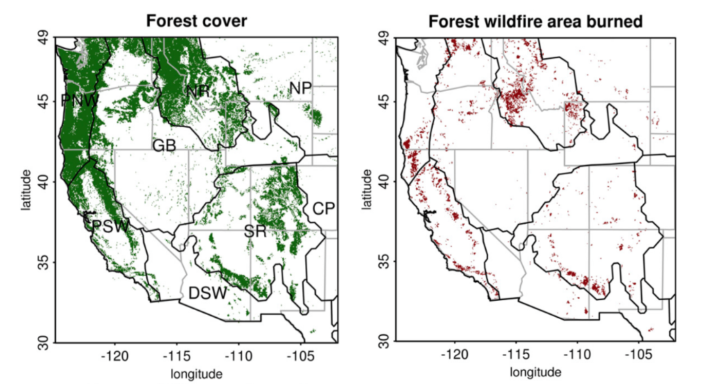 two maps showing Forest cover and forest wildfire area burnt per year from 1984-2015 in eight western US domains: Central Plains (CP), Desert Southwest (DSW), Great Basin (GB), Northern Plains (NP), Northern Rockies (NR), Pacific Northwest (PNW), Pacific Southwest (PSW) and Southern Rockies (SR)