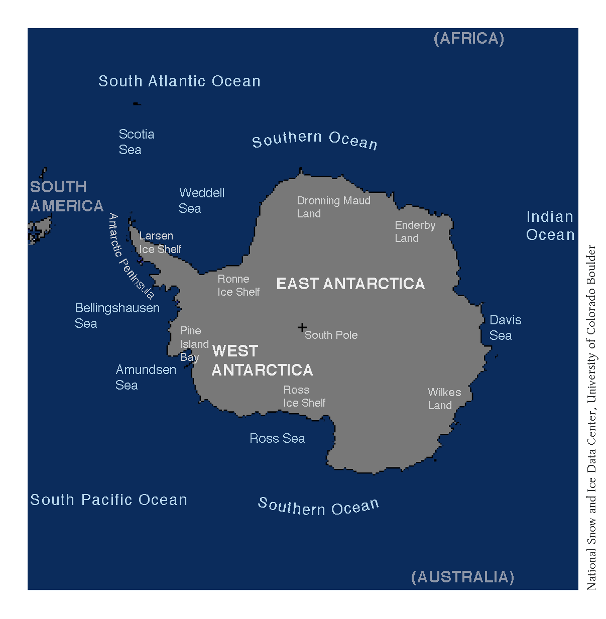 A map of Antarctica. Source: National Snow and Ice Data Center, University of Colorado Boulder