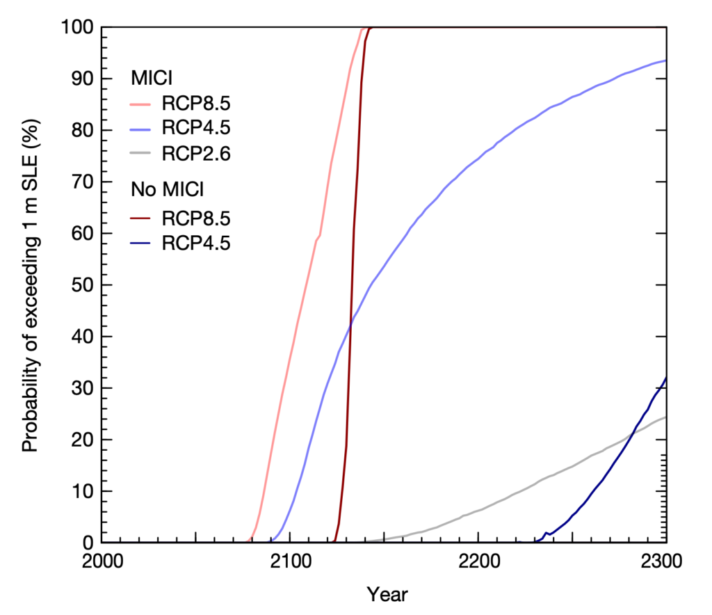 Line graphs showing Projected probability of the Antarctic sea level contribution exceeding one metre out to 2300. Lines show three scenarios: RCP2.6 (grey), RCP4.5 (blue) and RCP8.5 (red), with and without MICI. Source: Edwards et al. (2019)