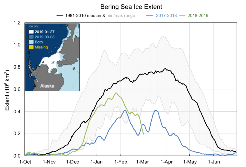 Chart showing the sharp decline in sea ice extent in the Bering Sea in 2019 (green line), the general low sea cover during 2017-18 (blue) and the long-term average (black, with grey shading showing the range). The inset map in the top left compares sea ice extent at the beginning of January 27 and at the end of March 3, 2019. Credit: W. Meier, NSIDC