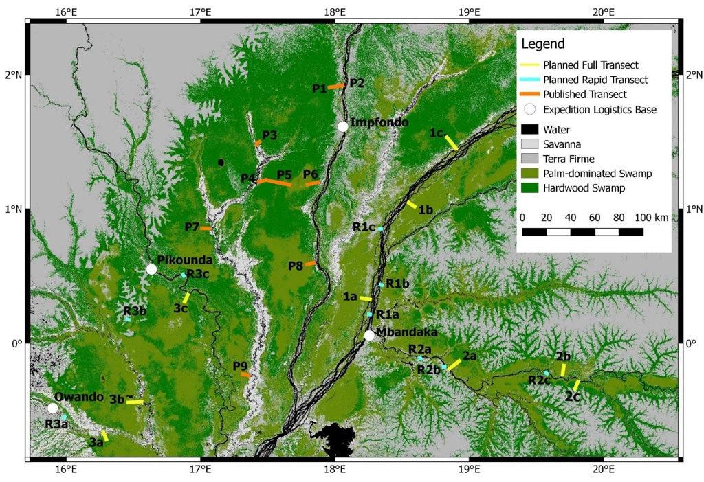 Plan des trois expéditions principales que les chercheurs vont entreprendre, étiqueté 1 à 3. Sur la carte, les tourbières sont indiquées en vert, le jaune et le bleu montrent les sites où on prélèvera de nouveaux échantillons et l'orange montre les sites où on a déjà prélevé des échantillons en République du Congo. Crédit: Greta Dargie