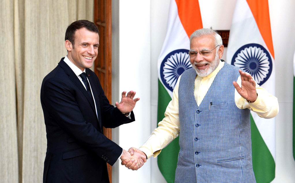 Prime Minister Narendra Modi with French President Emmanuel Macron at Hyderabad House, to co-chair the founding conference of the International Solar Alliance (ISA). 10 March 2018, New Delhi, India. Credit: Newscom / Alamy Stock Photo. M7BAF1