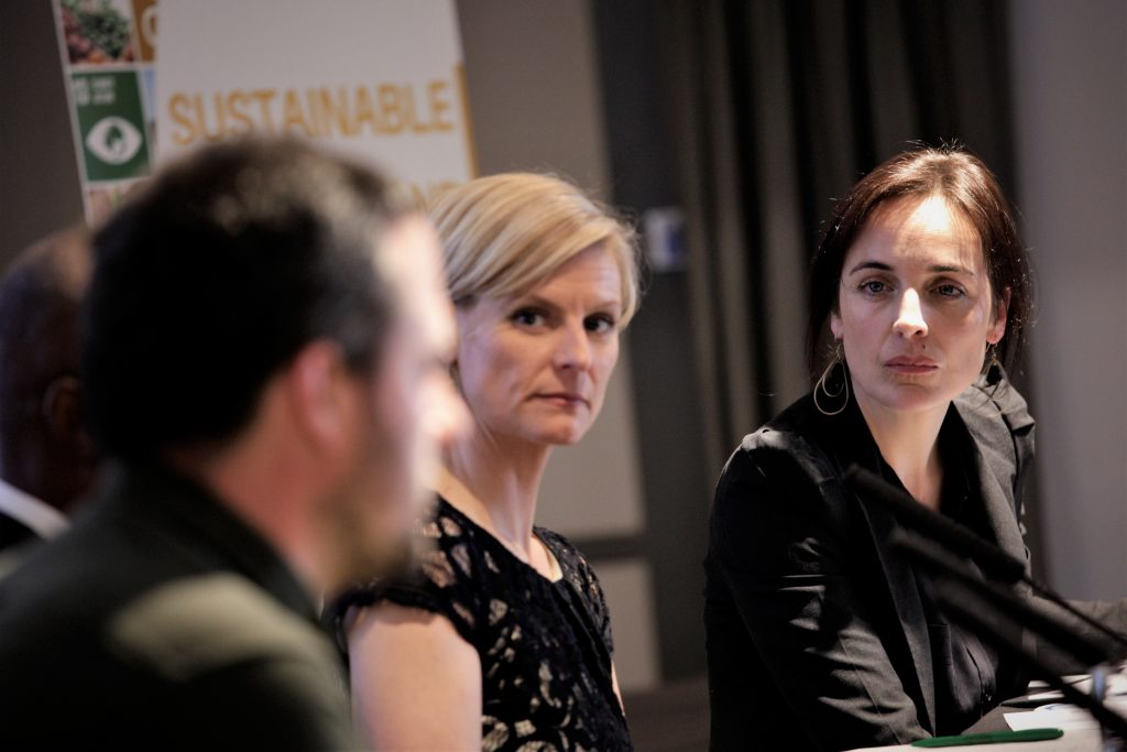Pippa Hackett (l) and event moderator Ella McSweeney (r) Photo: Niall Sargent