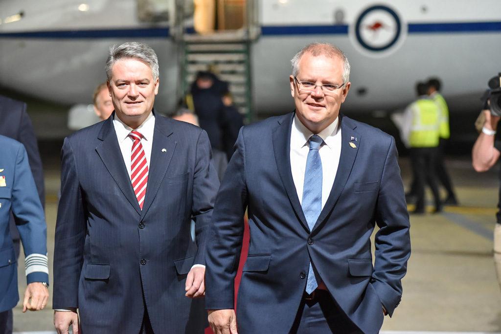 "Prime Minister of Australia, Scott Morrison (right), arrives at the G20 in Argentina Credit: G20 Argentina via <a target=""_blank"" href=""https://www.flickr.com/photos/g20argentina/45198522685/in/photolist-qRjf9j-2bS3f6T-2auFzkL-PwEAur-29M6kCd-NJTDpA-29uck7p-M7wjq8-M7wjqP-2aNbeaC-29ucjVn-29ugwVr-M7wj5D-2aNbgkE-NJTEay-29M6fWE-2aNbbjs-2aSxQ3X-QvNR2e-29ucezx-2ecv1iL-2cTitX6-QvNLhp-S912TQ-2db65pf-2ecv4mj-2ecv6VY-QvNPMR-2db5NJN-2aSxPyv"">Flickr</a>"