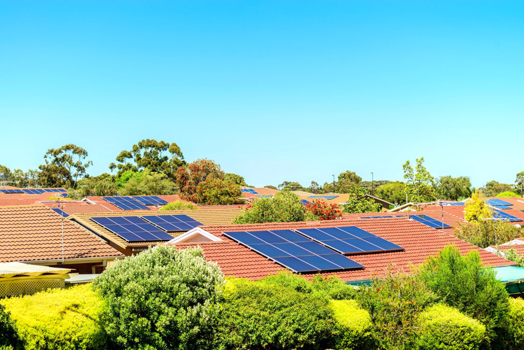 Rooftop solar panels in South Australia. Credit: Andrey Moisseyev / Alamy Stock Photo. H8BYF5