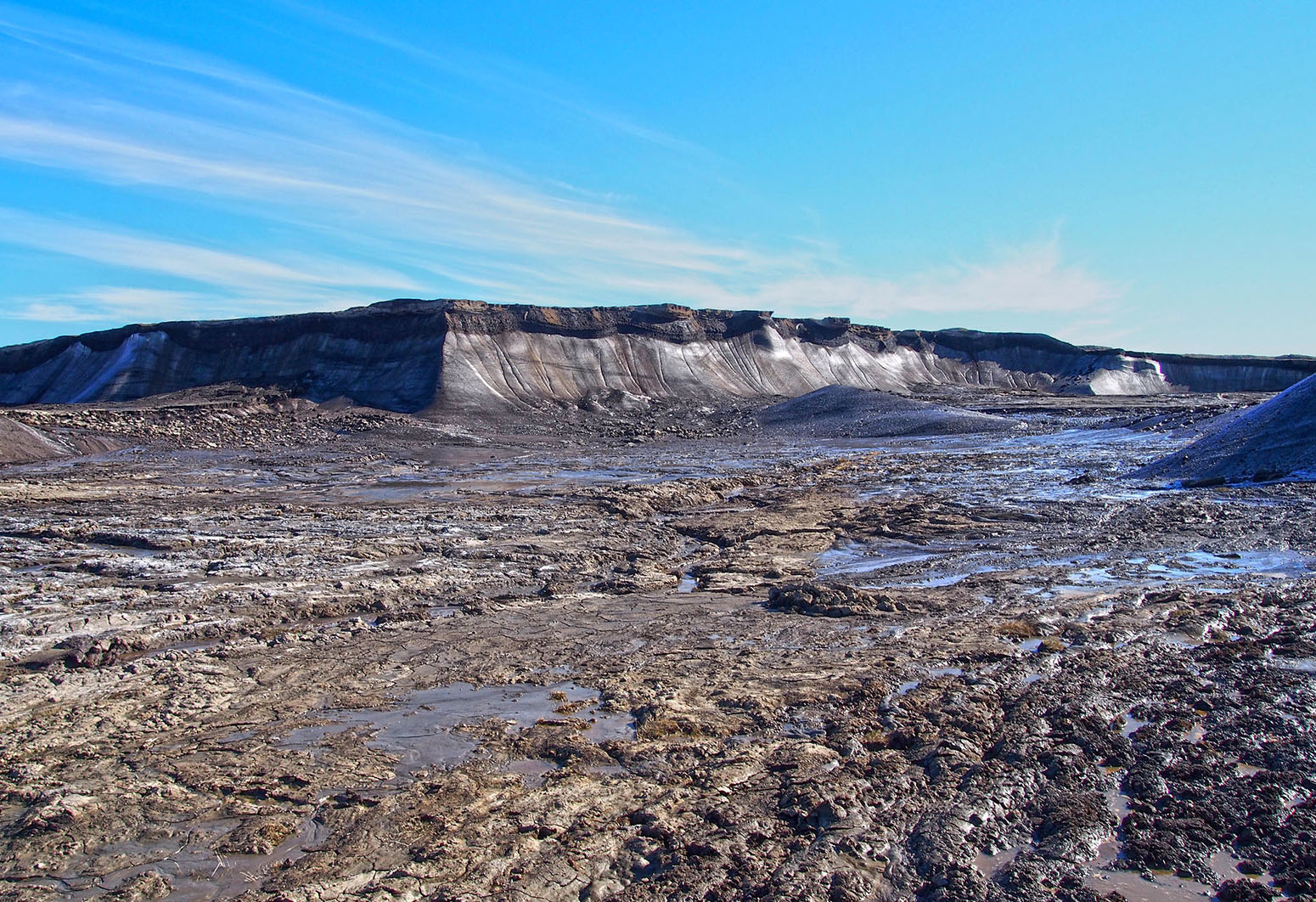 Retrogressive thaw slump in the 2014 study area on Forsheim Peninsula, Ellesmere Island, Canada. Credit: UBC Micrometeorology (CC BY 4.0).