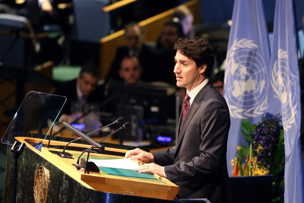 Justin Trudeau, Prime Minister of Canada, speaking at the Signature Ceremony for the Paris Agreement on Climate Change, 22 April 2016, UN Headquarters, New York. Credit: IISD/ENB   Francis Dejon