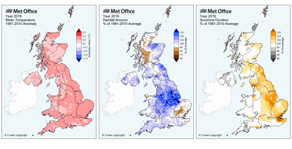 Maps of UK annual average temperature (left) rainfall (middle) and sunshine duration (right) for 2018. Credit: Met Office