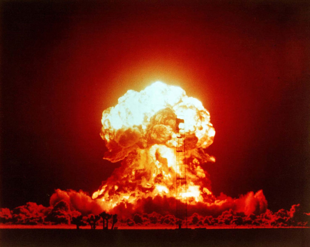 The BADGER shot was a 23 kiloton nuclear bomb. Over 2,000 US soldiers were within 3.7 kilometers of the explosion and some moved as close a 460 kilometers after the blast. April 18, 1953, at the Nevada Test Site.