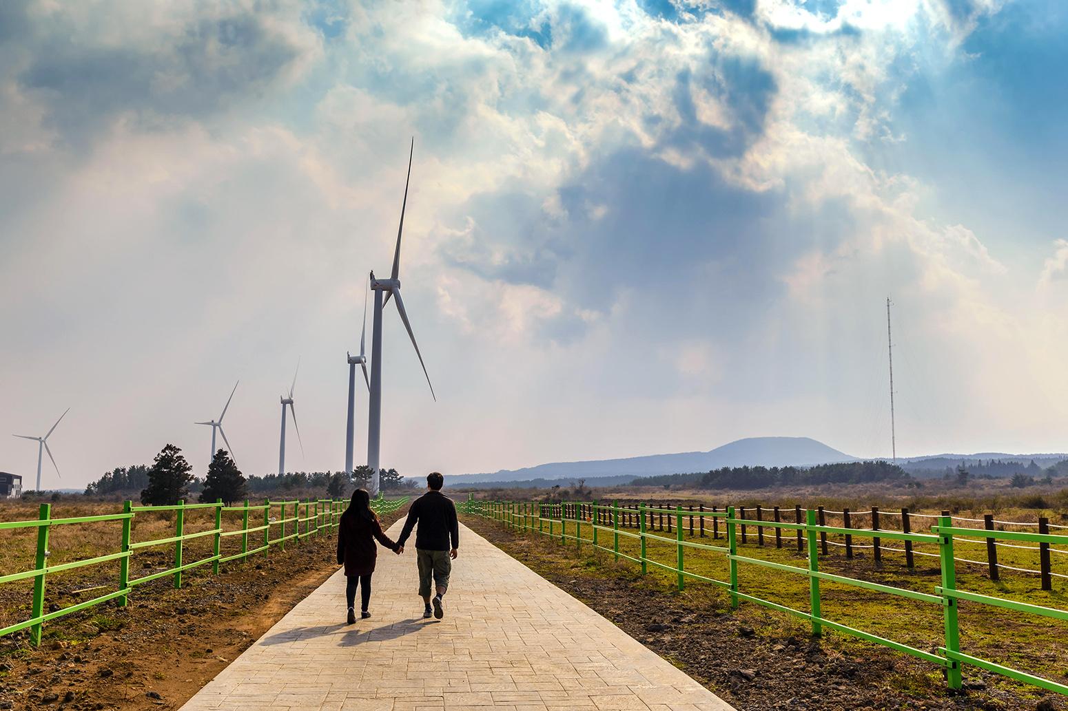 A wind farm on Jeju Island, South Korea. Credit: Noppasin Wongchum / Alamy Stock Photo. HX0BP5