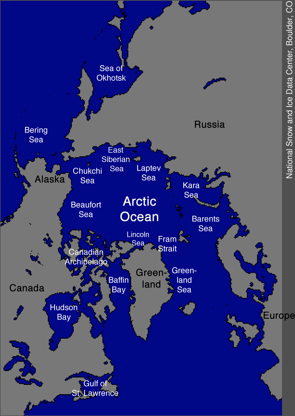 A map of the Arctic Ocean.