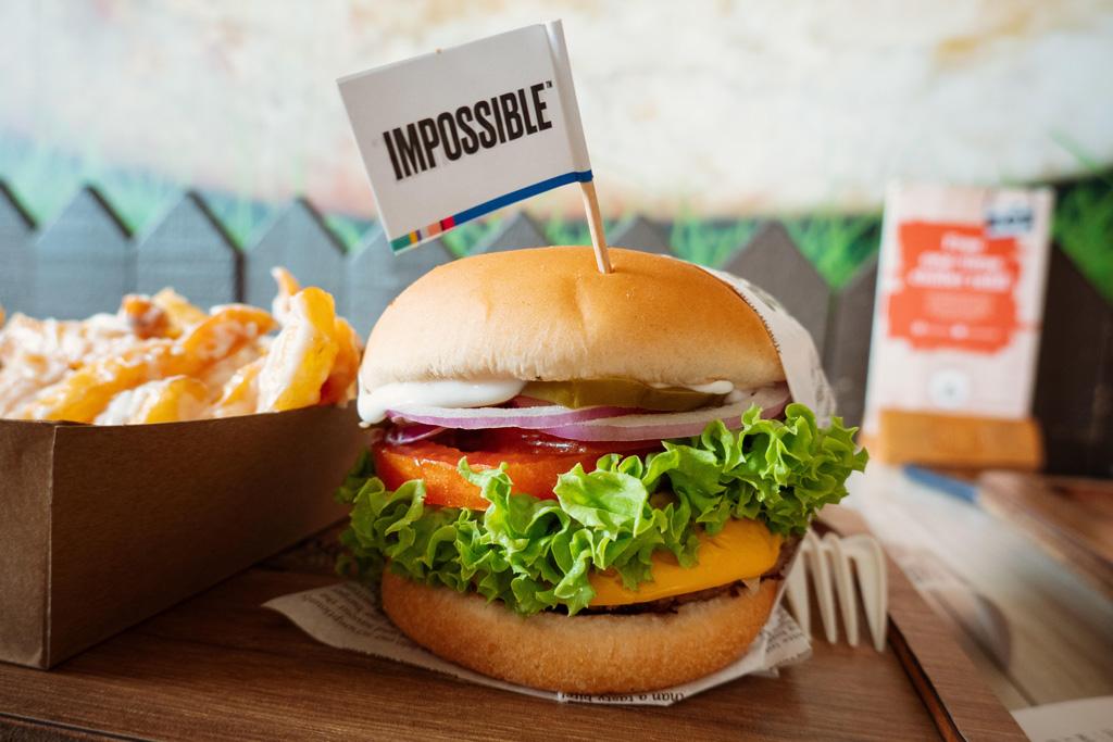 An Impossible burger served at VeganBurg.