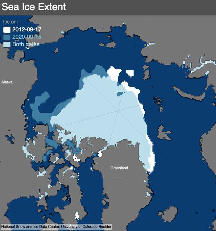NSIDC (2020) Map of 2012 vs 2020 Arctic sea ice minimum