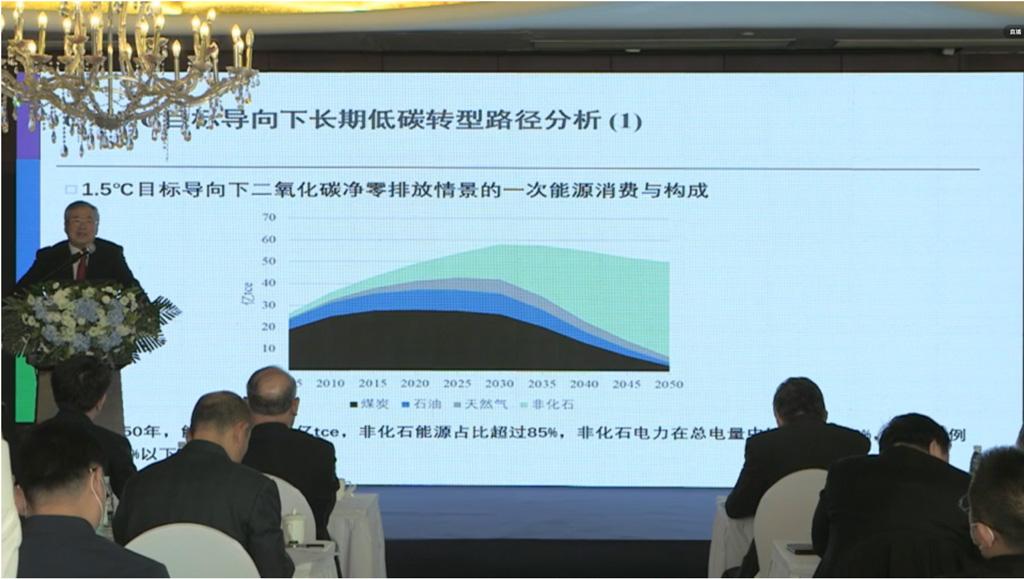 Tsinghua Universitys Prof He Jiankun presenting the evolution of Chinas total energy demand and energy mix