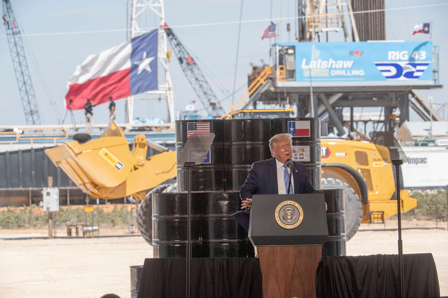 Donald Trump talks at Latshaw 9 drilling rig on the Double Eagle well site, Texas.