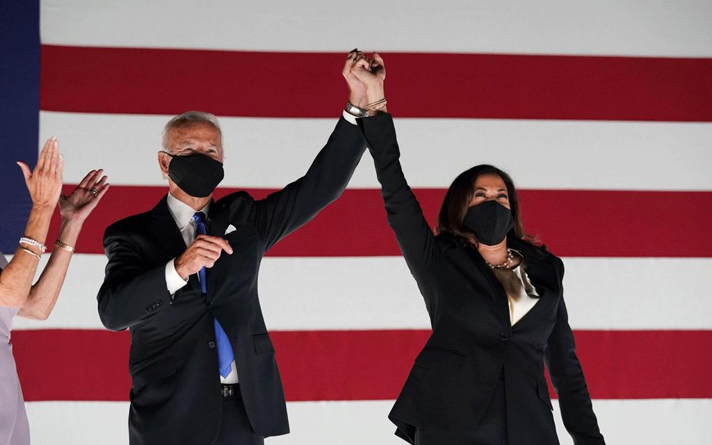President-elect Joe Biden and vice president-elect Kamala Harris celebrate.