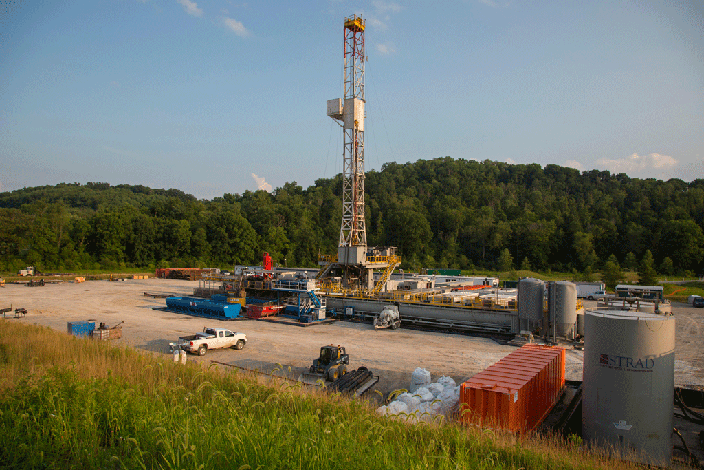 Rig drilling for natural gas by using hydraulic fracturing in Pennsylvania.