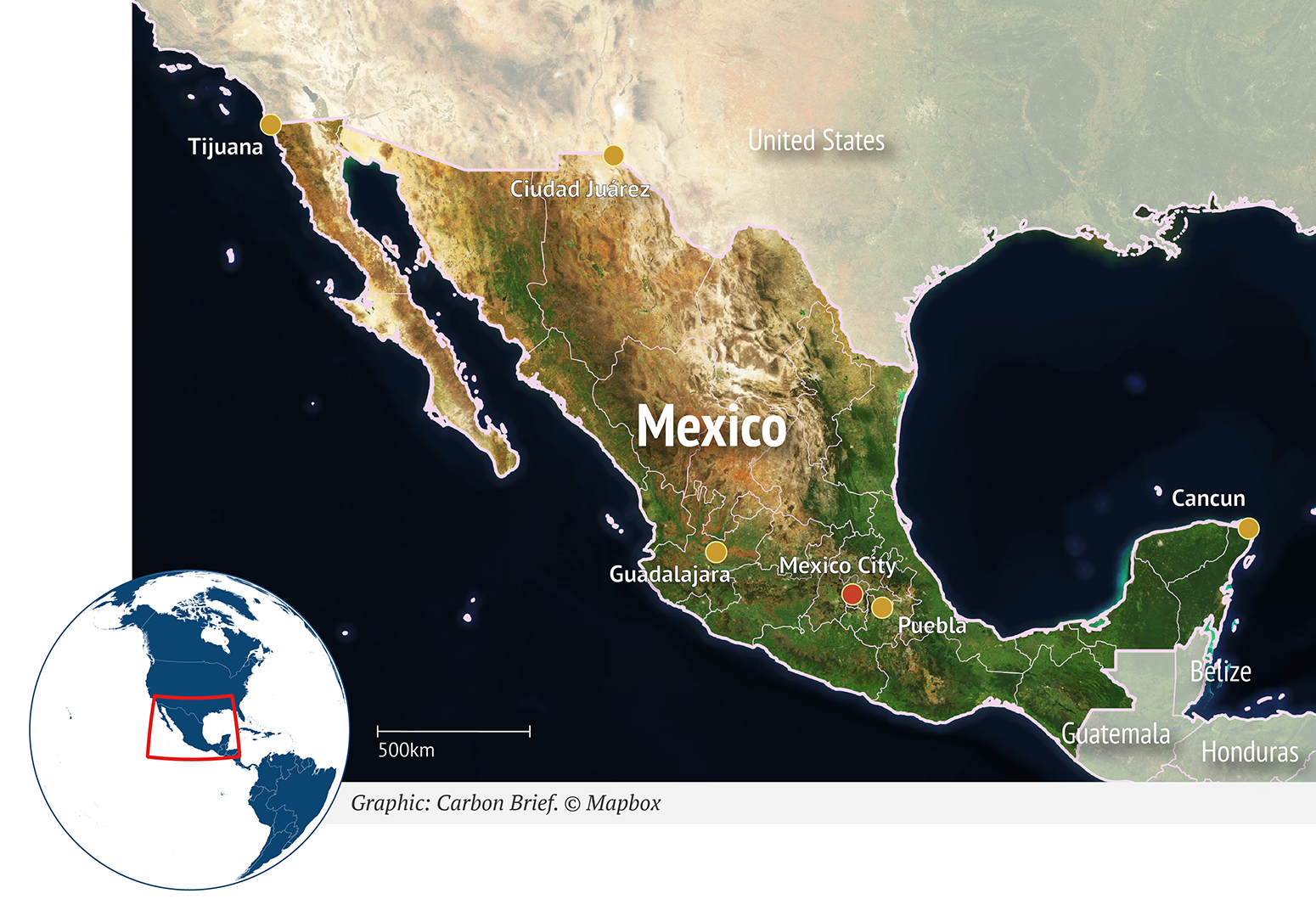 Mexico location on world map
