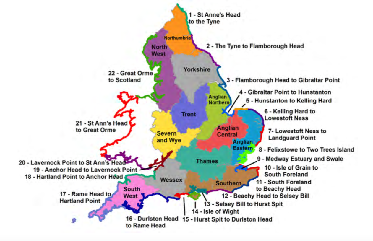 Mao of England and Wales showing Shoreline Management Plan areas in England and Wales. Source: CCC, using Environment Agency data.