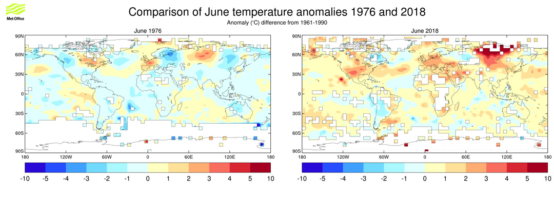 Two world maps comparing June surface air temperature anomalies in 1976 (left) and 2018 (right), relative to 1961-90.