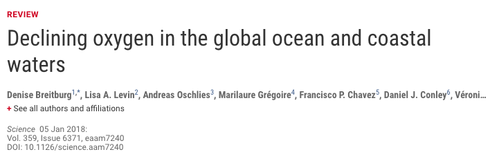 "Screenshot of Science journal paper titled ""Declining oxygen in the global ocean and coastal waters"""