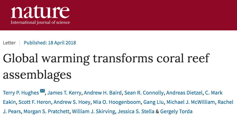 screenshot of Nature paper titled: Global warming transforms coral reef assemblages