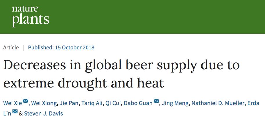 "screenshot of Nature Plants paper titled ""Decreases in global beer supply due to extreme drought and heat"