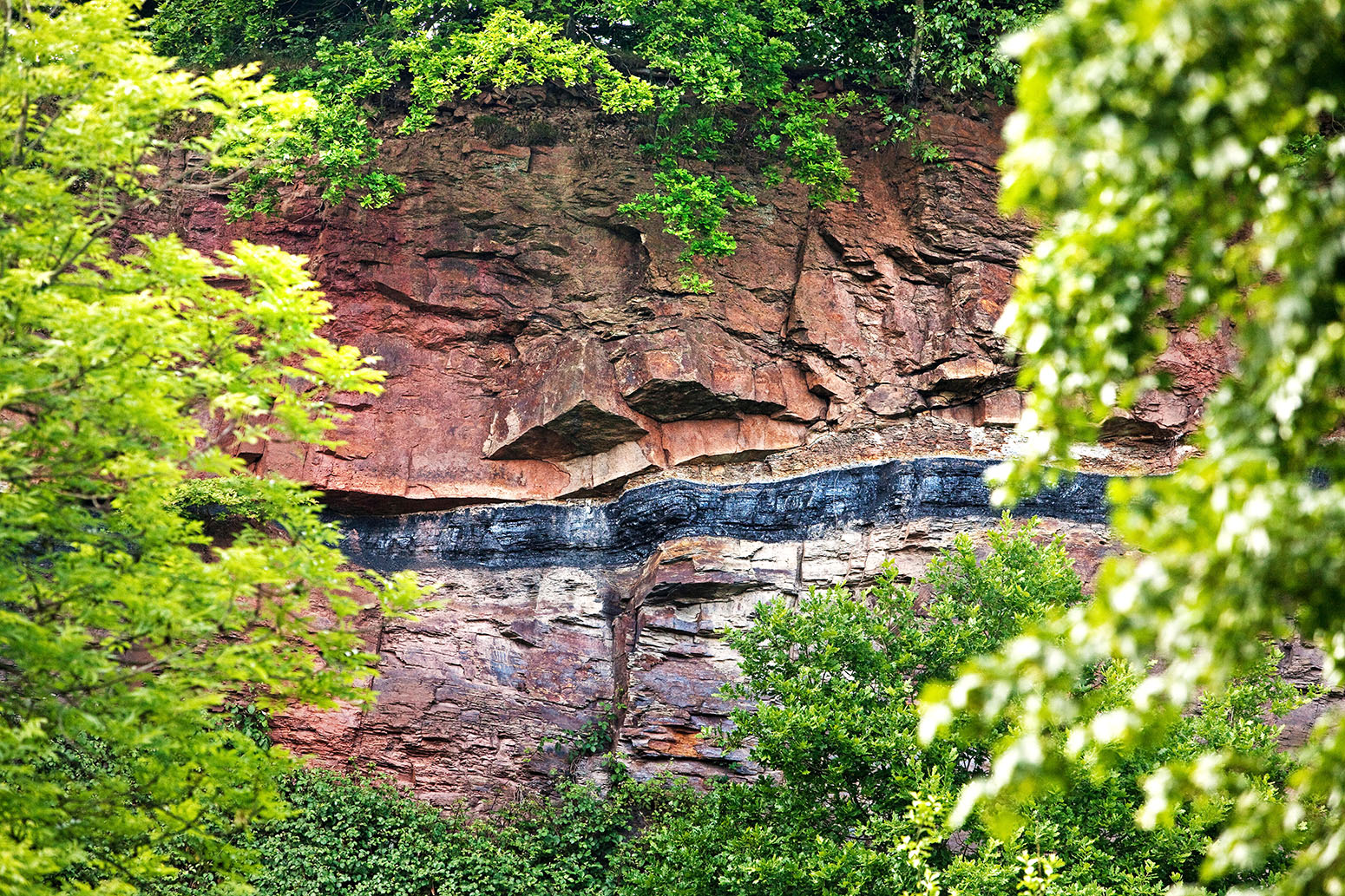 Geological outcrop with overground coal seam, Witten, Germany. Credit: imageBROKER / Alamy Stock Photo. EX3DYE