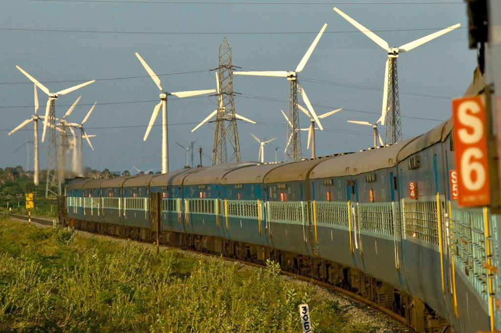 Wind turbines near Kanyakumari in Tamil Nadu, India. Credit: dbimages / Alamy Stock Photo. AX6FAM