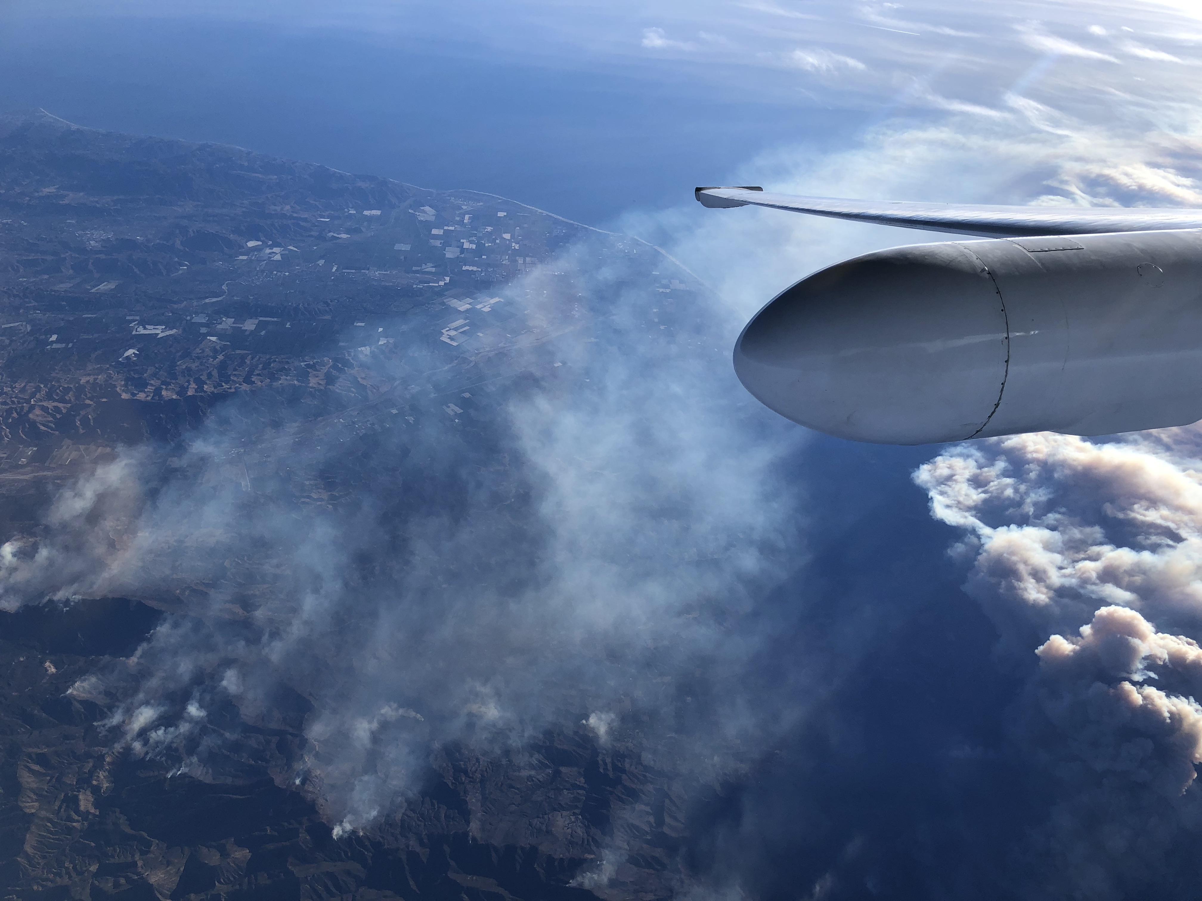 NASA's ER-2 aircraft flies above the Thomas Fire in Ventura County, California
