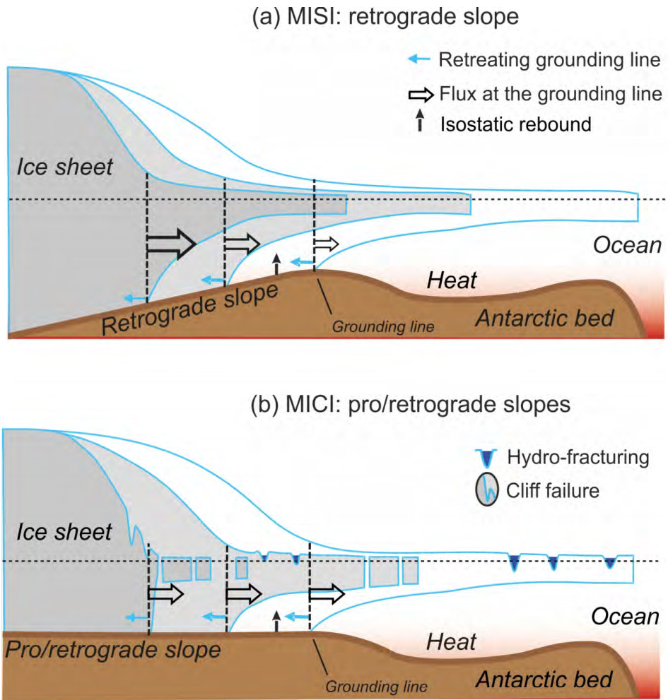 Representation of Marine Ice Sheet Instability (a) and Marine Ice Cliff Instability (b). In (a) thinning of the buttressing ice shelf leads to acceleration of the ice sheet flow and thinning of the marine-terminated ice margin. Bedrock under the ice sheet is sloping towards its interior, meaning thinning of the ice causes retreat of the grounding line and an increase in seaward ice flux, further thinning of the ice margin, and further retreat of the grounding line. In (b), disintegration of the ice shelf due to bottom melting and/or hydro-fracturing produces an ice cliff. If the cliff is tall enough, the stresses at the cliff face exceed the strength of the ice, and the cliff fails structurally in repeated calving events. Source: IPCC: Figure CB8.1 (pdf)