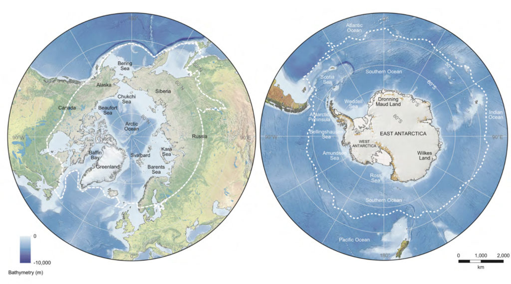 Map of the Arctic (left) and Antarctic (right) polar regions. Various place names referred to in the text are marked. Dashed lines denote approximate boundaries for the polar regions. Source: IPCC: Figure 3.2 (pdf)