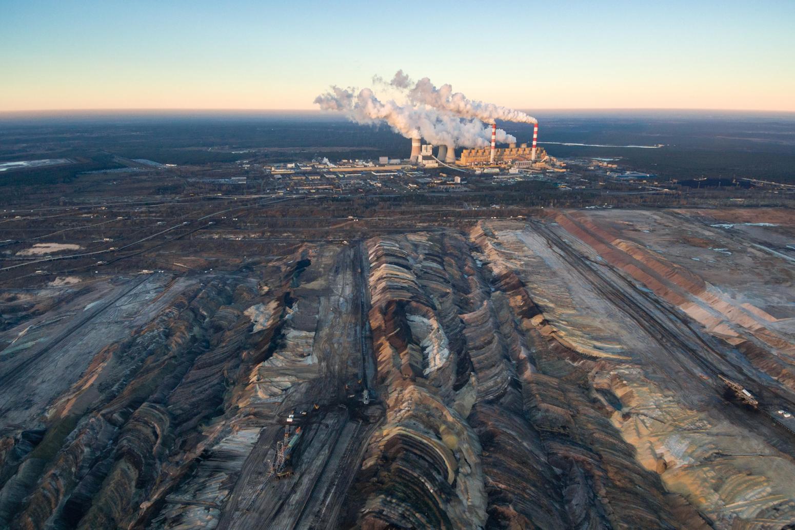 Aerial view of open-cast coal mine Belchatow, Poland. Credit: Łukasz Szczepanski / Alamy Stock Photo