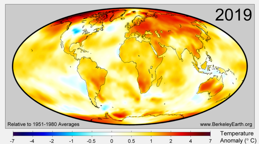 Surface temperature anomalies for 2019 from Berkeley Earth, using a 1951-80 baseline.