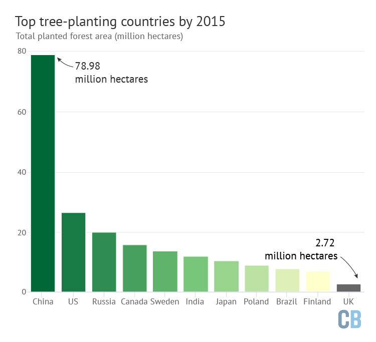 Tree planting in the UK between 1976-2019, hectares, by type of organisation. The private sector (light) has dominated over public planting (dark) since the 1980s. Source: Forestry Commission.