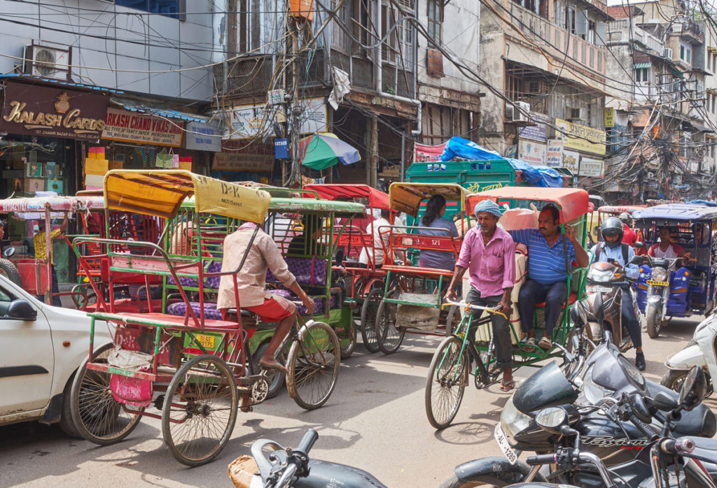 New Delhi / India - September 19, 2019: Transport congestion in Chandni Chowk, a busy shopping area in Old Delhi with bazaars and colorful narrow streets