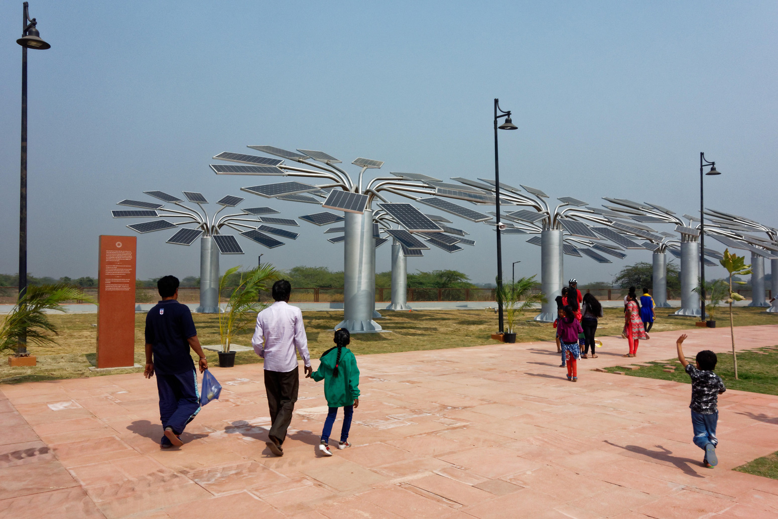 Solar panel trees at the National Salt Satyagraha Memorial, Dandi Beach, Gujarat, India. 3 February 2020.