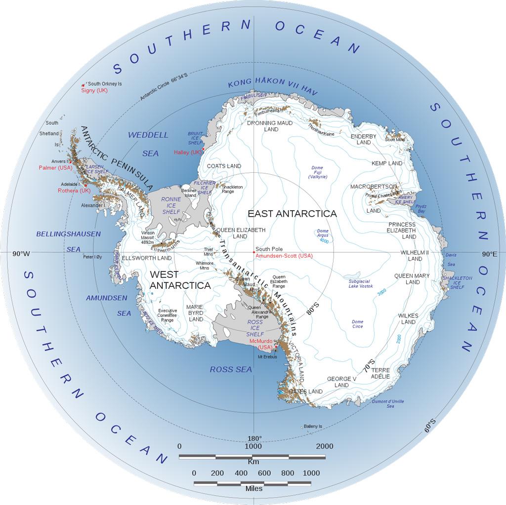 Map of Antarctica. Credit: NASA/British Antarctic Survey/National Science Foundation