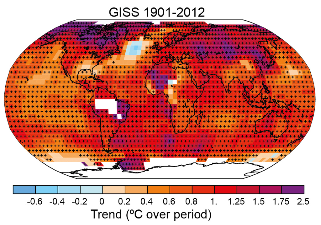 Map of observed changes in global surface temperature for 1901-2012, from the NASA Goddard Institute for Space Studies temperature record. Orange, red and purple shading indicates warming, while blue indicates cooling. Black plus signs (+) indicate grid boxes where trends are statistically significant. Source: IPCC AR5 WG1 Fig.2.21