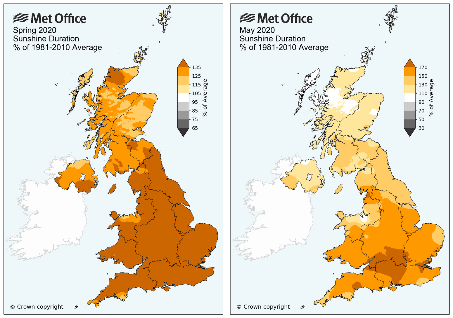 UK sunshine duration for Spring 2020 (left) and May 2020 (right) relative to the 1981-2010 average. Note the different scales used on the colour bars of these two plots. Credit: Met Office