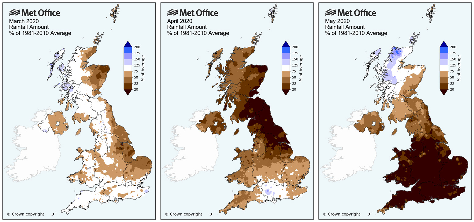 UK rainfall amount shown as a percentage of the 1981-2010 average for March, April and May 2020. Credit: Met Office